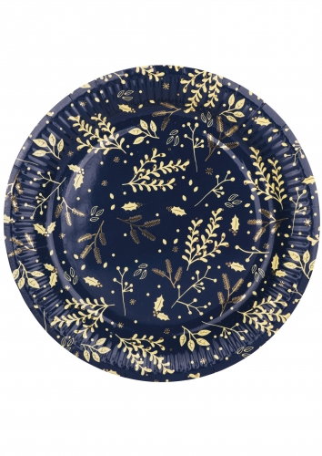8 Assiettes en carton Hiver végétal marine et doré 23 cm
