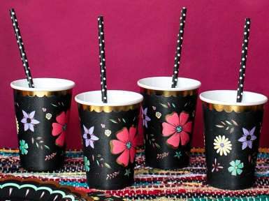 6 Gobelets en carton Dia de los Muertos 220 ml-1