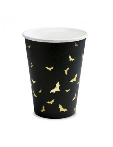 6 Gobelets en carton Chauves souris noirs et dorés 220 ml