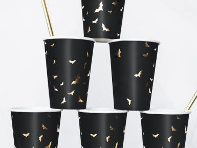 6 Gobelets en carton Chauves souris noirs et dorés 220 ml-1
