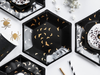 6 Assiettes en carton Chauves souris noires et dorées 20 cm-1