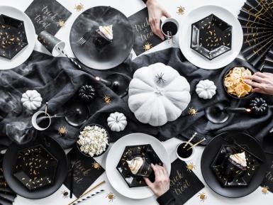 6 Assiettes en carton Chauves souris noires et dorées 20 cm-2