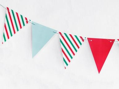Guirlande fanions couleurs de Noël 15 x 130 cm-1