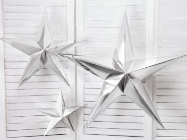 Décoration à suspendre étoile argentée en carton 30 cm-1