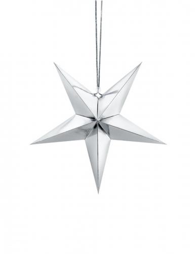 Décoration à suspendre étoile argentée en carton 30 cm