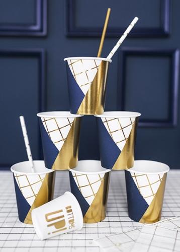 6 Gobelets en carton bleu marine, blanc et doré 260 ml-1