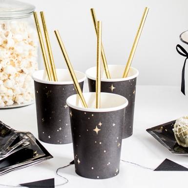 6 Gobelets en carton noirs et étoiles dorées 260 ml-1