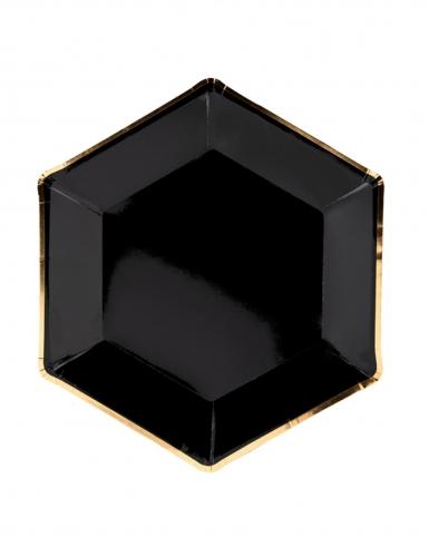 6 Assiettes en carton noir et or 23 cm