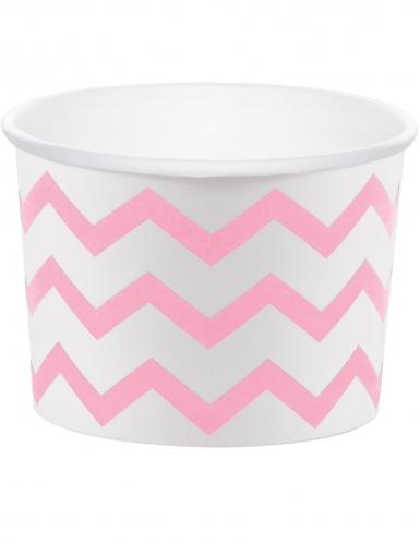 6 Moules à cupcake en carton blanc à chevrons rose pâle 8,89 x 6,35 cm