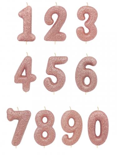 Bougie sur pique chiffre rose gold pailletée 7 cm-1