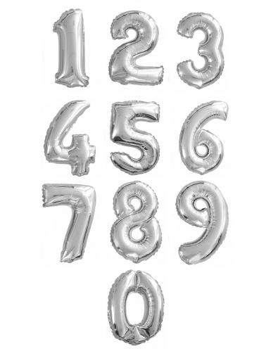 Ballon aluminium chiffre argent 35 cm-1