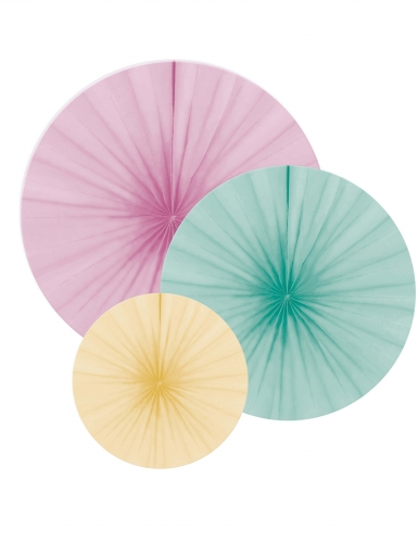 3 Rosaces en papier pastel