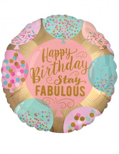 Ballon aluminium Happy Birthday rose 43 cm