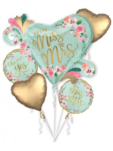 Bouquet ballons aluminium Miss to Mrs