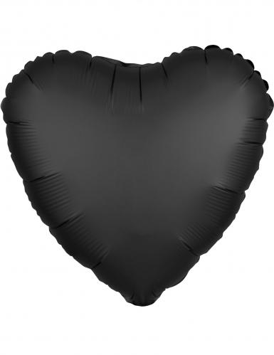 Ballon aluminium cœur satin noir 43 cm