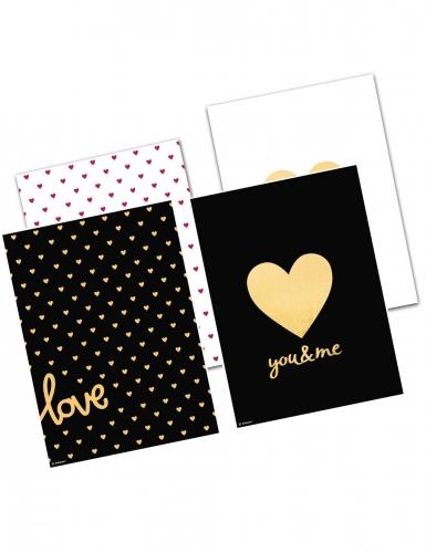 4 Sachets en papier noir, blanc et doré 15 x 21 x 6 cm