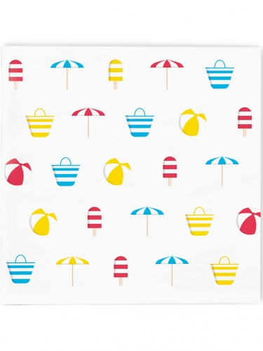 20 Petites serviettes en papier Plage 25 x 25 cm