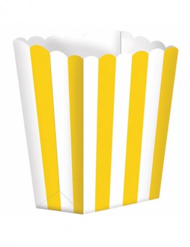 5 Boîtes à popcorn rayures jaunes et blanches 9,5 x 13,5 cm