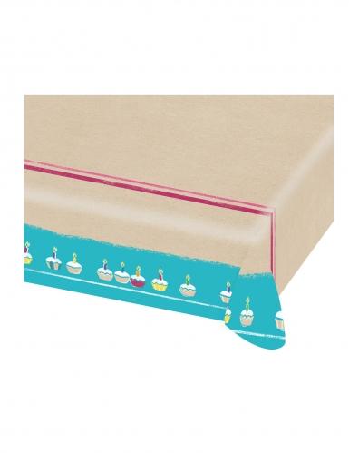 Nappe en papier Happy Birthday kraft et bleu 115 x 175 cm