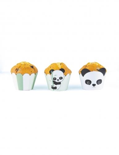 6 Habillages moules à cupcake Bébé Panda blancs et verts pastel