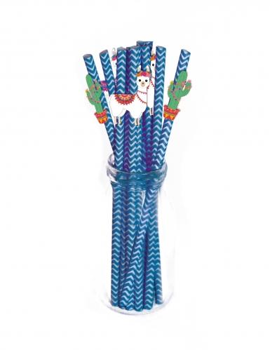 10 Pailles en carton Frida Lama bleues 20 cm