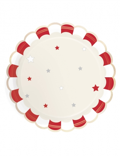 8 Assiettes en carton festonnées rouges vintage 23 cm