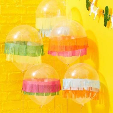 5 Ballons en latex avec franges multicolores 30 cm-1