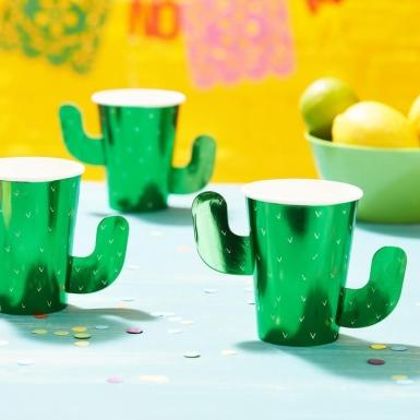 8 Gobelets en carton forme cactus verts 266 ml-1