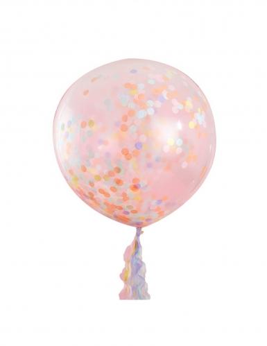 3 Ballons géants transparents confettis pastel 91 cm