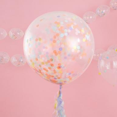 3 Ballons géants transparents confettis pastel 91 cm-1