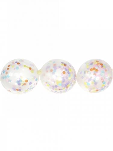 Guirlande de 24 ballons transparents avec confettis pastel 12 cm