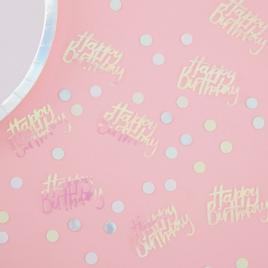 Confettis de table Happy Birthday pastel iridescent 14 g-1