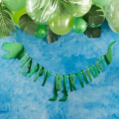 Guirlande en carton Happy birthday dinosaure verte métallisée 2 m-1