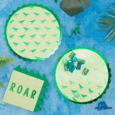 8 Assiettes en carton dinosaure vertes métallisées 23 cm-1