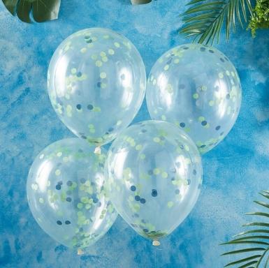 5 Ballons en latex transparents confettis verts 30 cm-1