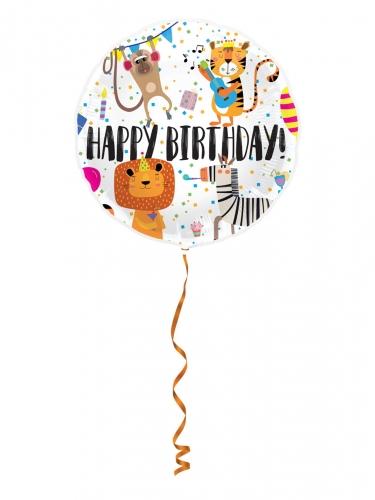 Ballon aluminium happy birthday animaux 45cm-1