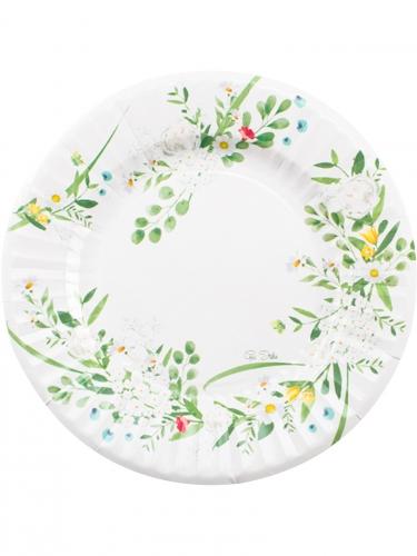 8 Assiettes en carton Garden Party blanches 27 cm