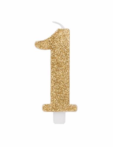 Bougie anniversaire chiffre dorée pailletée 9,5 cm-1