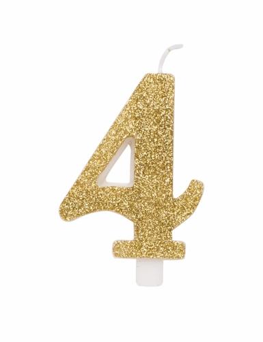 Bougie anniversaire chiffre dorée pailletée 9,5 cm-4