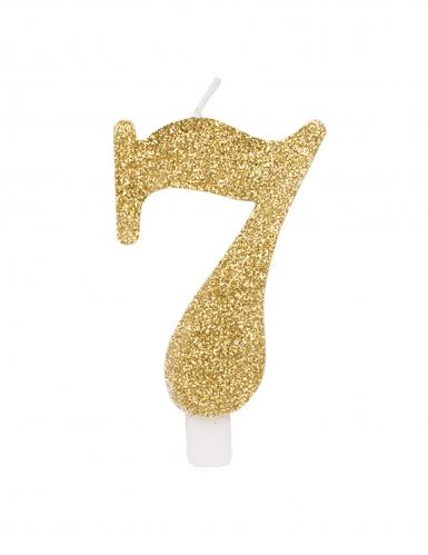 Bougie anniversaire chiffre dorée pailletée 9,5 cm-7