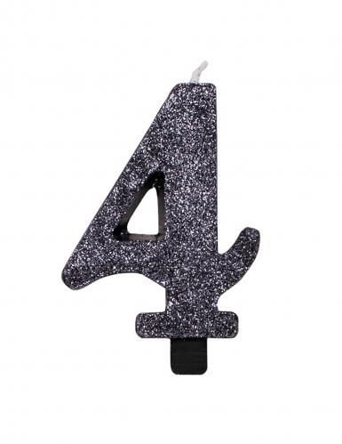 Bougie anniversaire chiffre noire pailletée 9,5 cm-4