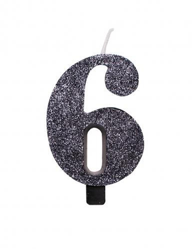 Bougie anniversaire chiffre noire pailletée 9,5 cm-6