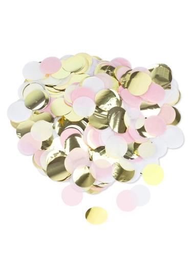 Confettis papier rose, blanc et doré 3 cm - 36 g