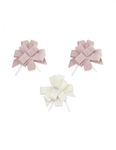3 Nœuds à tirer velours rose et blanc 9 cm