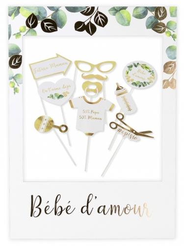 Kit photobooth avec cadre Bébé d'amour 10 pièces