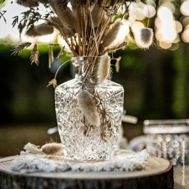 Vase gravure ancienne verre carré 6,5 x 12,5 cm - 250 ml-1