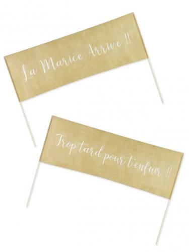 2 Banderoles tissu Trop tard... et La mariée arrive 57 x 40 cm