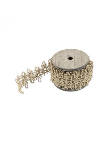 Ruban jute ficelle motif ethnique 3,5 cm x 2,5 m