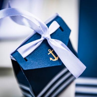 10 Boites carton ancre et marinière avec ruban blanc 7 x 8,5 cm-2