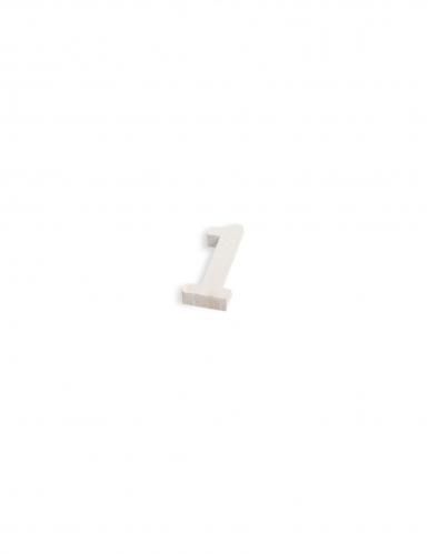 Chiffre en bois naturel blanc 5 cm-1